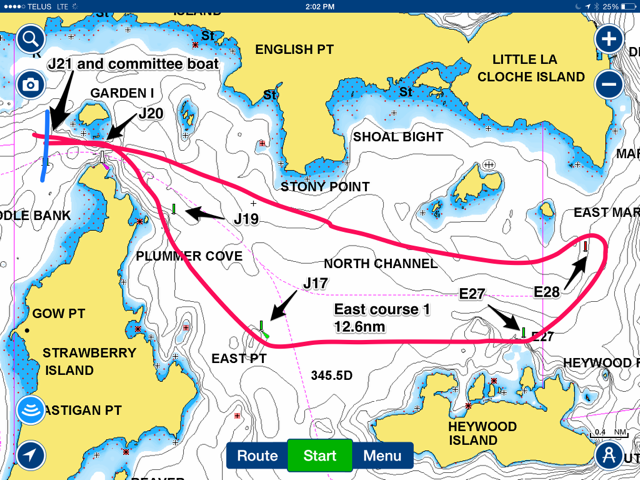 East course 1 chart